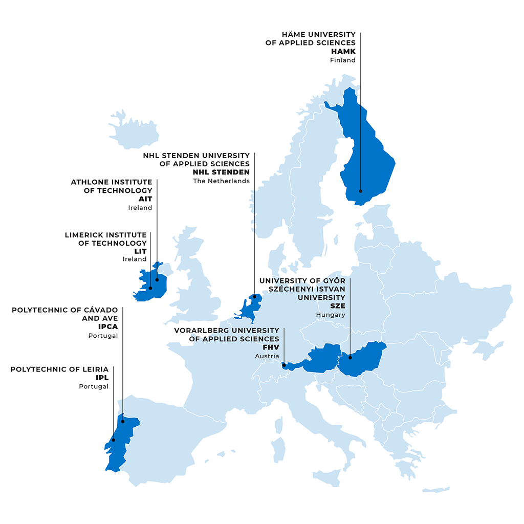 This image shows a map of Europe that highlights the countries where RUN-EU's higher education institutions are located. Portugal: Polytechnic of Leiria (IPL); Polytechnic of Cávado and Ave (IPCA). Ireland: Limerick Institute of Technology (LIT); Athlone Institute of Technology (AIT). Finland: HämeUniversity of Applied Sciences(HAMK). The Netherlands: NHLStendenUniversity of Applied Sciences (NHL Stenden). Austria: Vorarlberg University of Applied Sciences(FHV). Hungary: University of Győr – Széchenyi Istvan University (SZE).