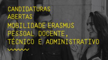 <strong>Candidaturas até 31 de maio</strong><br>Mobilidade Erasmus de Pessoal Docente, <br>Técnico e Administrativo