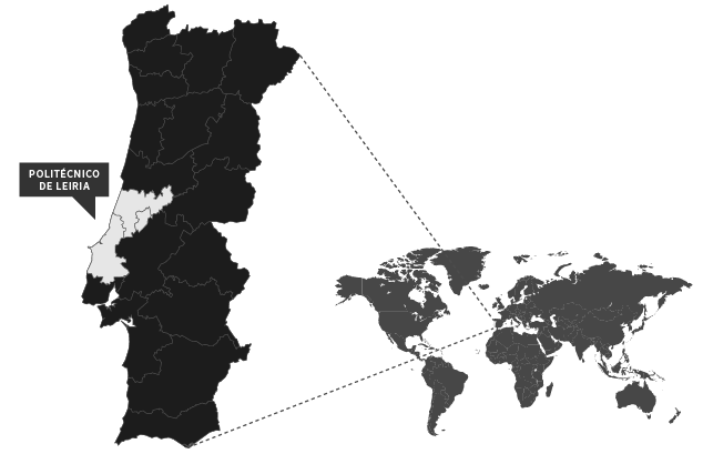 Map with the location of Politécnico de Leiria in the World